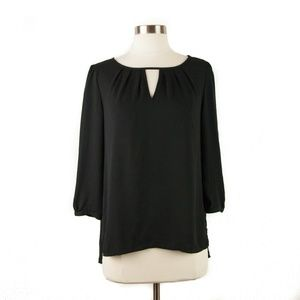 Express Black 3/4 Sleeve Sheer Keyhole Neck Top